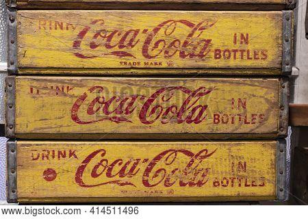 Kokomo - Circa March 2021: Coca-cola Antique Bottle Storage Crate. Coca-cola Manufactures Coke, Diet