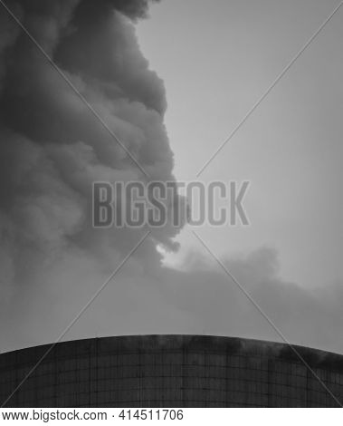 Close-up View Of Coal Power Plant With Chimney And Huge Fume