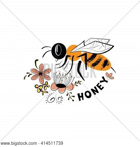 Vector Image Of The Title-honey With A Bee Collecting Nectar From Flowers. An Outline Of A Label Wit