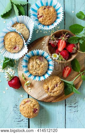 Healthy Homemade Cakes, Summer Dessert. Gluten Free Strawberry Oatmeal Muffins And Fresh Strawberrie