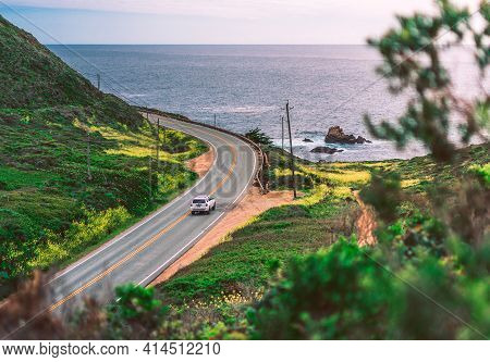 Single Car On Pacific Coastline Road, View From Highway Number 1, California