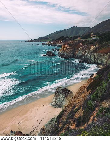 Pacific Coastline, View From Highway Number 1, California
