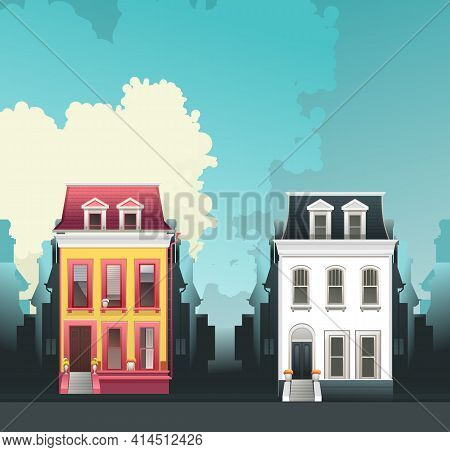 Vertical Retro Poster Two-story House City Building On A City Street With A Main Entrance