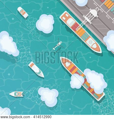 Cargo Port In Flat Style. Top View. Container Ship, Cargo Ship, Yacht, Boat And Harbor, Industry Shi