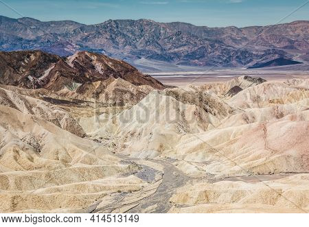 Heavily Eroded Ridges At The Famous Zabriskie Point, Death Valley National Park, California, Usa