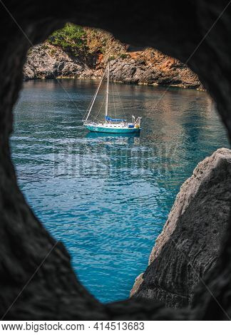 Turqouise Water Sailing Boat On The Sea