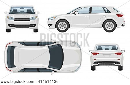 Suv Car Vector Template With Simple Colors Without Gradients And Effects. View From Side, Front, Bac