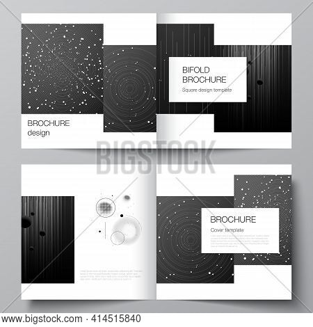 Vector Layout Of Two Covers Templates For Square Design Bifold Brochure, Flyer, Magazine, Cover Desi