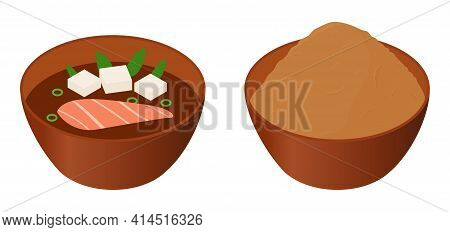 Japanese Miso Soup And Paste In Brown Bowls Isometric Cartoon Vector Illustration Isolated On White.
