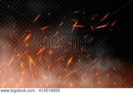 Realistic Fire Sparks Background On A Transparent Background. Burning Hot Sparks Effect With Embers