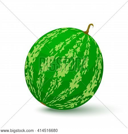 Watermelon Icon In Flat Style. Isolated Object. Watermelon Logo. Vector Illustration On White Backgr