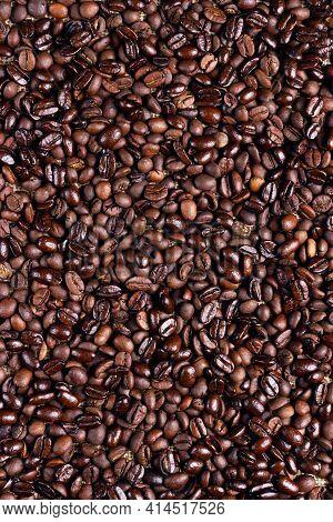 Roasted Ccoffee Beans Background. Arabic Roasting Coffee. Ingredient Of Hot Beverage.