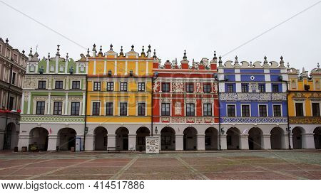 Zamosc, Poland, November 10, 2020. View Of Colorful Buildings In The Historic Great Market Square At