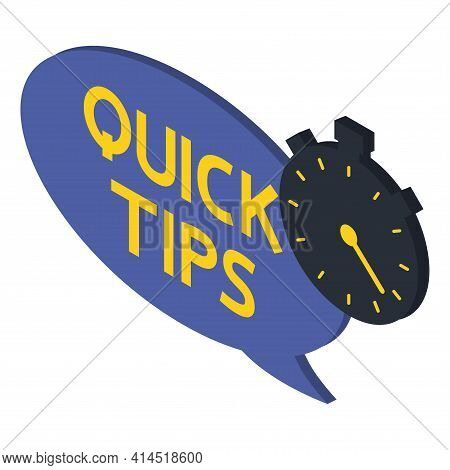 Quick Tips. Blue Banner With Letters Quick Tips And Stopwatch. Helpful Idea, Solution And Trick Illu