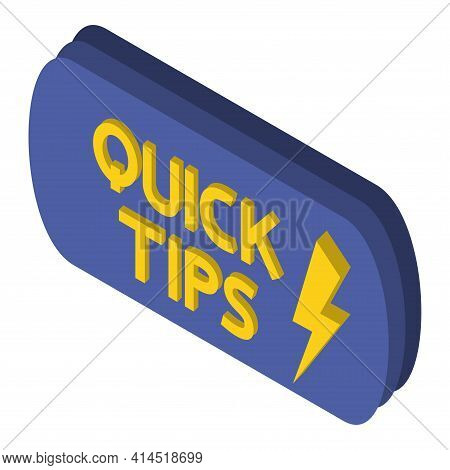Quick Tips. Blue Banner With Letters Quick Tips Inside. Helpful Idea, Solution And Trick Illustratio