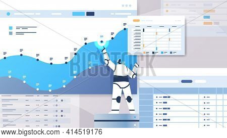 Modern Robot Analyzing Statistics Graph Financial Data Analyzing Artificial Intelligence Technology
