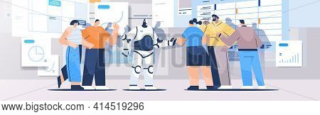 Robot With Businesspeople Analyzing Statistics Graphs And Charts Financial Data Analyzing Artificial
