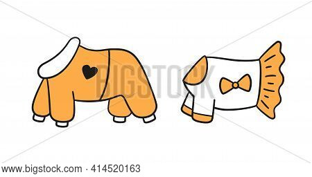 Warm Clothes For Dogs. Canine Jumpsuit And Dress. Set Isolated Hand Drawn Vector Illustration On Whi