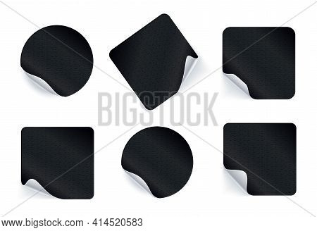 Set Of Adhesive Stickers. Realistic Empty Sticky Labels Or Price Tags Set With Shadow. Blank Round A