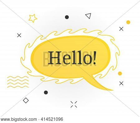 Interesting Facts Bubble Symbol. Banner Or Sicker With Word Hello. Social Media Faq Banner With Spee