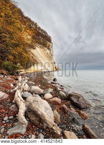 Baltic Sea Coast On The Island Moen In Denmark.