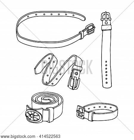 Set Of Simple Leather Belts With Metal Buckles, Pet Collars, Vector Illustration With Black Ink Cont