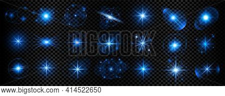Blue Transparent Light Sparkles And Lens Flares Big Set