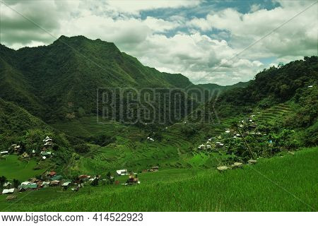 Verdant Green Slopes Of The Batad Rice Terraces In Northern Philippines