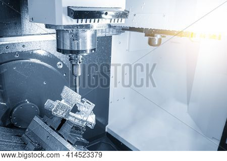 The 5-axis Machining Center Cutting The Aerospace Part With Solid Ball Endmill Tool. The Hi-precisio