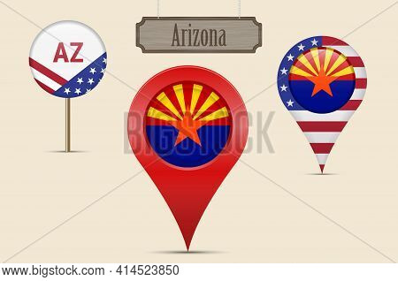 Arizona Us State Round Flag. Map Pin, Red Map Marker, Location Pointer. Hanging Wood Sign In Vintage