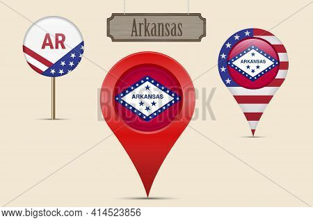 Arkansas Us State Round Flag. Map Pin, Red Map Marker, Location Pointer. Hanging Wood Sign In Vintag