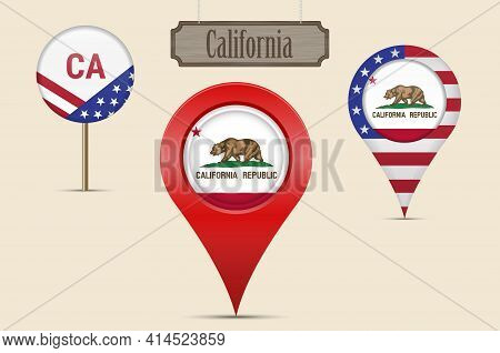 California Us State Round Flag. Map Pin, Red Map Marker, Location Pointer. Hanging Wood Sign In Vint