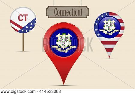 Connecticut Us State Round Flag. Map Pin, Red Map Marker, Location Pointer. Hanging Wood Sign In Vin
