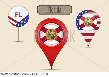 Florida Us State Round Flag. Map Pin, Red Map Marker, Location Pointer. Hanging Wood Sign In Vintage