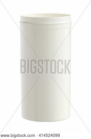 Plastic Can Cylinder Shape Opened (with Clipping Path) Isolated On White Background