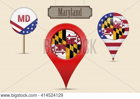 Maryland Us State Round Flag. Map Pin, Red Map Marker, Location Pointer. Hanging Wood Sign In Vintag