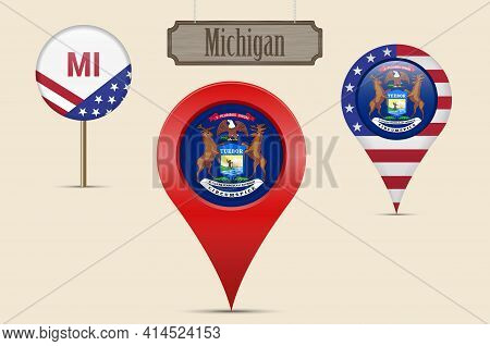 Michigan Us State Round Flag. Map Pin, Red Map Marker, Location Pointer. Hanging Wood Sign In Vintag