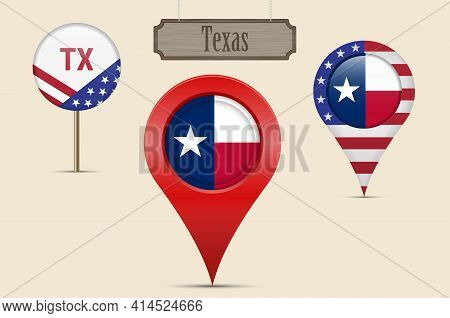Texas Us State Round Flag. Map Pin, Red Map Marker, Location Pointer. Hanging Wood Sign In Vintage S