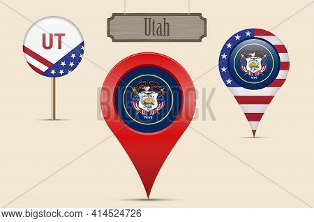 Utah Us State Round Flag. Map Pin, Red Map Marker, Location Pointer. Hanging Wood Sign In Vintage St