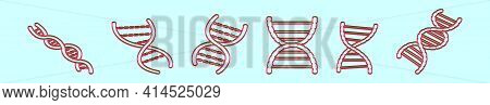 Set Of Double Helix Cartoon Icon Design Template With Various Models. Modern Vector Illustration Iso