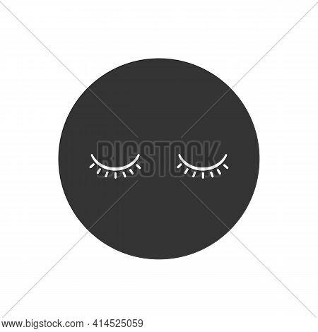 Closed Eyes White Icon. Makeup And Eyelid Symbol. Flat Design. Stock - Vector Illustration