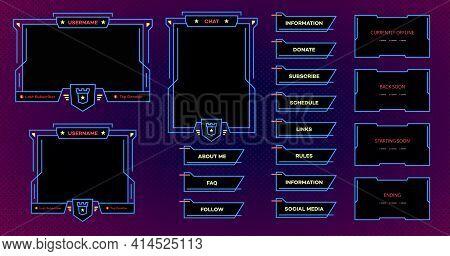 Streaming Screen Panel Overlay Design Template Modern Theme. Live Video, Online Stream Futuristic Te