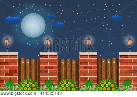 Wooden Fence With Plant At Night Time. Night Landscape With Starry Sky, Full Moon, Fence, Street Lan