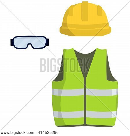 Clothing Of Worker And The Builder. Green Uniform, Glasses And Yellow Helmet. Industrial Safety. Typ