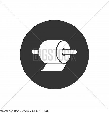Toilet Paper Roll White Icon In Flat. Vector