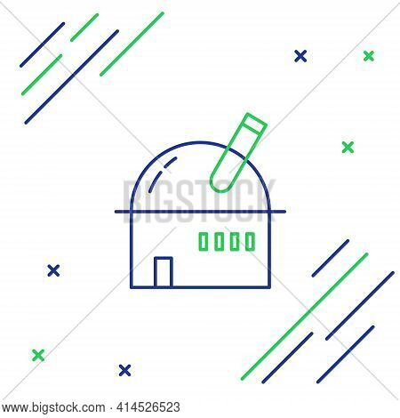 Line Astronomical Observatory Icon Isolated On White Background. Observatory With A Telescope. Scien