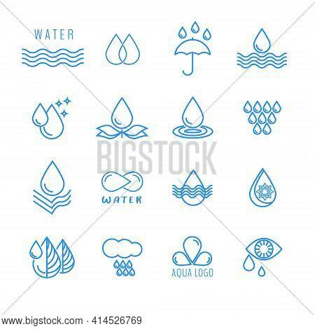 Water, Water Drop, Splash, Wave, Rain, Irrigation. A Set Of Vector Icons. Symbol Sign Icon Logo Illu