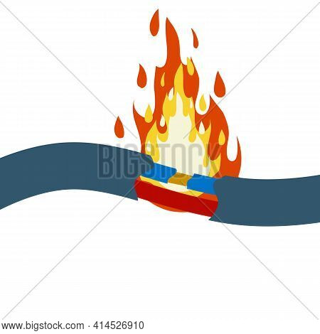 Blue Damaged Cable With Red Wire. Short Circuit. Cartoon Flat Illustration. Broken Line. Faulty Elec