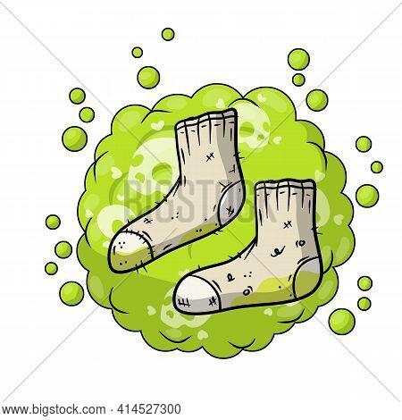 Dirty Sock. Sloppy Clothes. Stinky Toe. Grey Object For Washing. Cartoon Flat Illustration. Green Bu