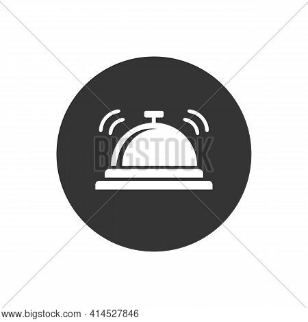 Vector Hotel Bell White Icon In Modern Flat Style
